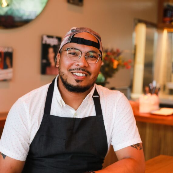 Photo of chef Jerome Grant smiling in Jackie restaurant